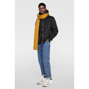 PUFFER VEST WITH RIBBED TRIM