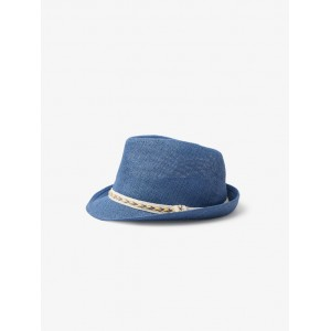 STRAW HAT WITH WOVEN BAND