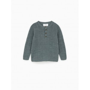 RIBBED HENLEY SWEATER