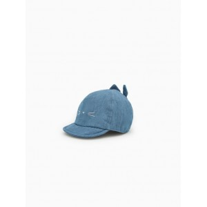 DENIM HAT WITH FACE AND EARS