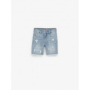 REGULAR FIT RIPPED DENIM SHORTS