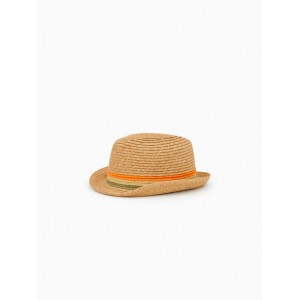 STRAW HAT WITH WOVEN BANDS