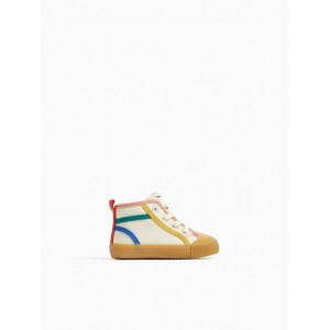 HIGH TOP SNEAKERS WITH COLORFUL PIPING