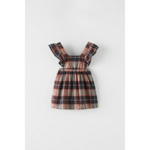 RUFFLED PLAID PINAFORE DRESS