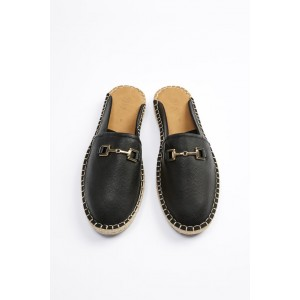 JUTE SOLE OPEN BACK ESPADRILLES WITH SADDLE DETAIL