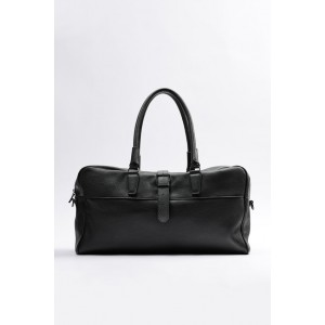 BUCKLED LEATHER BOWLING BAG