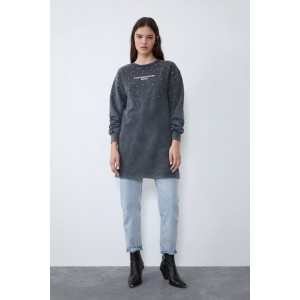 WASHED EFFECT DRESS WITH TEXT PRINT