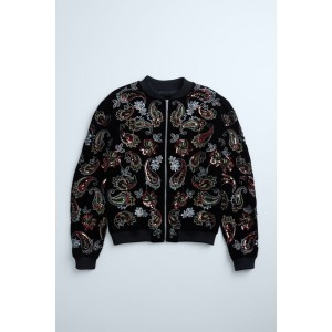PAISLEY EMBROIDERED BOMBER JACKET