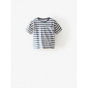 "STRIPED T-SHIRT WITH ""ENJOY"" POCKET"