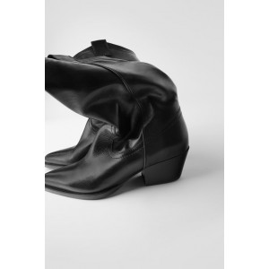 SOFT LEATHER COWBOY ANKLE BOOTS