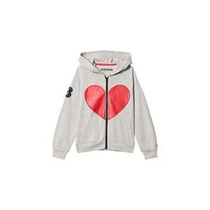 Grey Melange Heart Hoodie