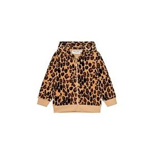 Beige Leopard Print Velour Zip Hoodie