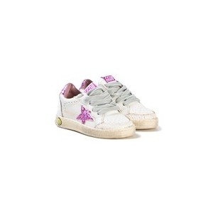 White Leather and Pink Glitter Ball Star Trainers
