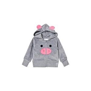 Grey Melange Pig Hoodie