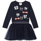 Navy Petticoat Sweat Dress with Bow Pattern