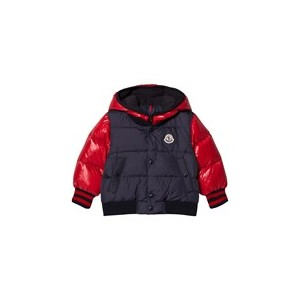 Navy and Red Monieux Down Hooded Coat