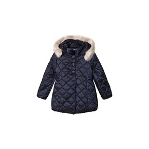 Navy Padded Faux Fur Trim Hood Coat
