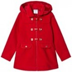 Red Buckle And Pocket Detail Hooded Coat