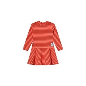 Red Striped Rib Turtleneck Dress