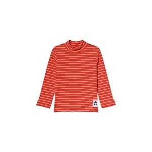 Red Stripe Rib Turtleneck Top