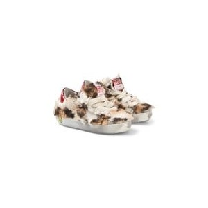 Cream and Leopard Faux Fur Trainers
