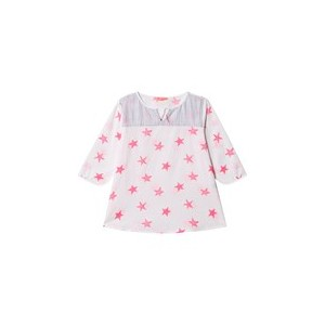White and Neon Pink Starfish Kurta Dress