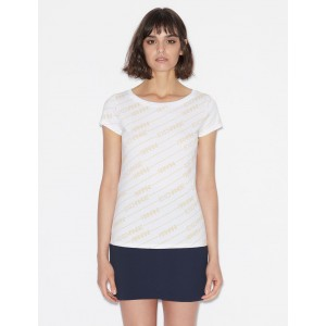 Armani Exchange SLIM FIT TEE WITH ALL OVER LOGO, Logo T Shirt for Women | A|X Online Store