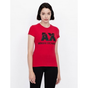 Armani Exchange SLIM FIT LOGO PRINT T SHIRT, Logo T Shirt for Women | A|X Online Store