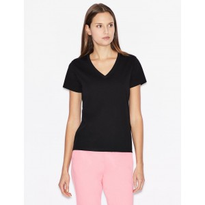 Armani Exchange REGULAR FIT TEE WITH LOGO LETTERING, Solid T Shirt for Women | A|X Online Store