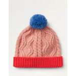 Chunky Cable Knit Hat - Formica Pink