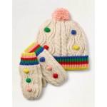 Pompom Hat & Gloves Set - Ecru Marl