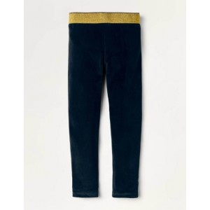 Sparkle Waist Velvet Leggings - Midnight Blue