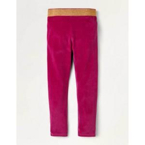 Sparkle Waist Velvet Leggings - Candy Cane Pink