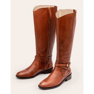 Pembroke Knee High Boots - Dark Tan
