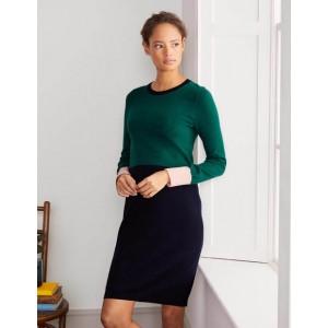 Frederica Knitted Dress - Deep Forest Colourblock