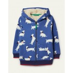 Shaggy-lined Zip-up Hoodie - Venice Blue Sausage Dogs