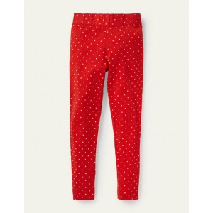 Fun Leggings - Fire Red / Ivory Pin Spot