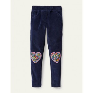 Cord Applique Leggings - College Navy Hearts