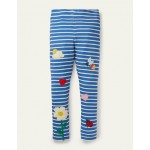 Fun Applique Leggings - Elizabethan Blue/ Ivory Flower