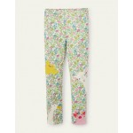 Fun Applique Leggings - Vintage Flower Peeking Animals