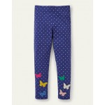 Fun Applique Leggings - Starboard Blue Spot Butterfly