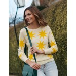 Kesteven Cashmere Sweater - Ivory, Scattered Suns