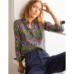 The Silk Shirt - French Navy, Rainbow Leopard