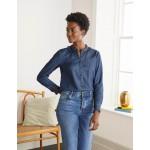 Caitlin Smocked Shirt - Mid Vintage Denim