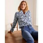 Dolores Linen Shirt - Ivory, Leopard Sketch