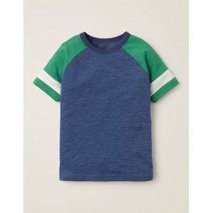 Stripe Raglan T-shirt - Bold Blue Marl/Green