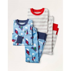 Twin Pack Long Pajamas - Frost Blue Steam Trains