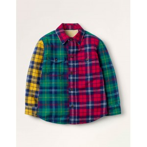 Cosy Borg-lined Shirt - Highland Green/Red Hotchpotch