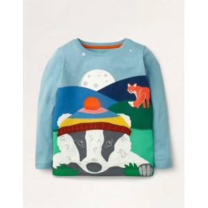 Adventure Applique T-shirt - Frost Blue Badger