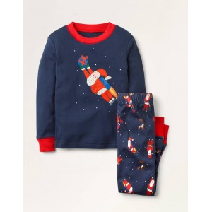 Cosy Applique Long Pajamas - College Navy Jet Pack Santa